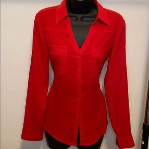 Express Portofino Red Long Sleeve Shirt Small- E21